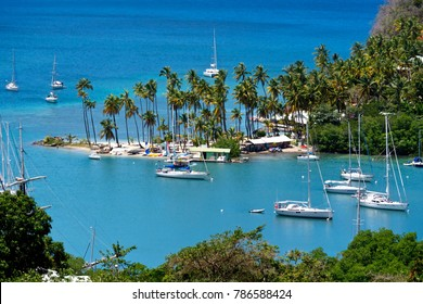 Aerial View of Marigot Bay in St Lucia, Caribbean