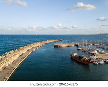 Aerial view of marina in Ashdod city, Israel.