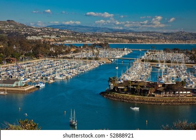 Aerial view of marina and the city of Dana Point, southern Orange County, California, U.S.A.