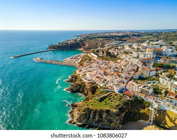 Aerial view of marina and cliffs in Albufeira, Algarve, Portugal