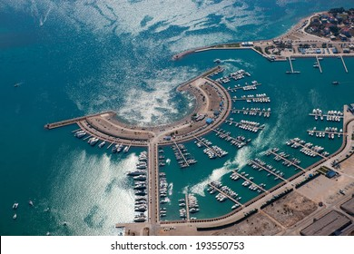 Aerial view of marina Dalmacija in Sukosan, Croatia, Dalmatia county with islands in the background.
