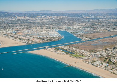 Aerial view of Marina Del Rey and Playa Del Rey aera from airplane, Los Angeles, California