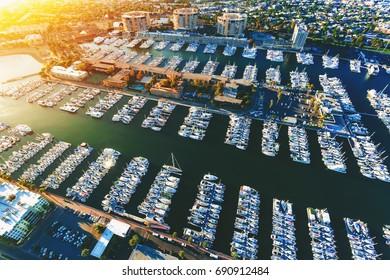 Aerial view of the Marina del Rey seaside community in LA