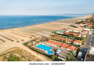 Aerial view of the Marina di Pietrasanta beach in the early morning in Versilia, Tuscany, Italy