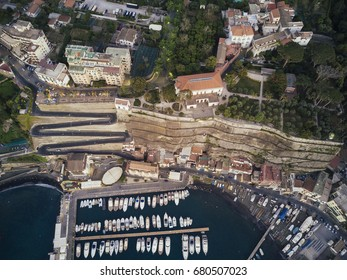 Aerial view of marina full of yachts in Italy.