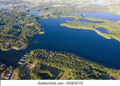 Aerial view of marina located on Kisajno Lake in Gizycko, Mazury, Poland