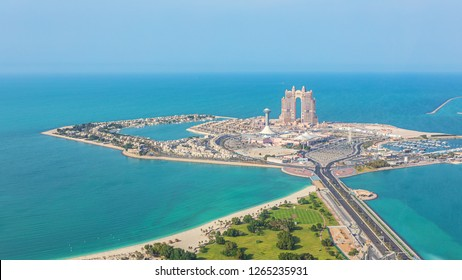 Aerial view of Marina Mall and Marina island in Abu Dhabi, UAE - panoramic view of shopping district