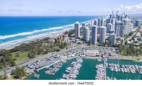 Aerial view from Marina Mirage harbour with a view over to Main Beach and Surfers Paradise cityscape