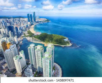Aerial View of Marine City and Haeundae Beach, Busan, South Korea, Asia.