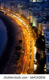A aerial view of the marine Drive (queen necklace) in Mumbai, India