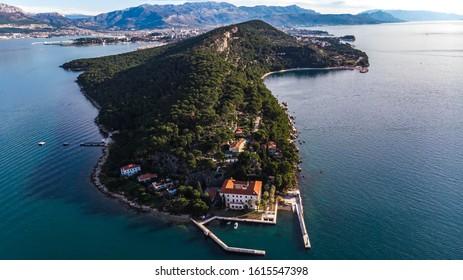 Aerial view of Marjan, one of the main symbols of Split, Croatia.