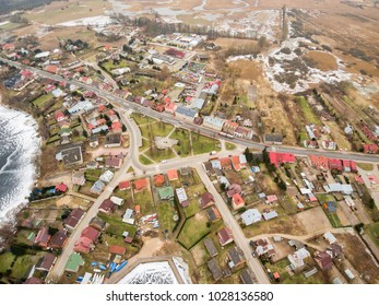 Aerial view of market, center part of Rajgrod, Poland