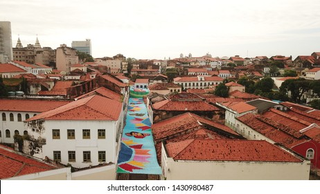 Aerial view Market of Tulhas and historical buildings decorated by the government with flags of sao joao in the center of the city of sao luiz, maranhao, brazil