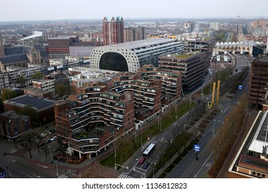 Aerial view of Markthal, a modern dutch marketplace Rotterdam, Netherland on Apr. 14, 2018