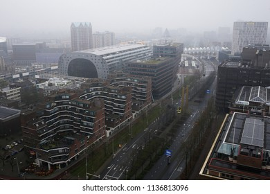 Aerial view of Markthal, a modern dutch marketplace Rotterdam, Netherland on Apr. 15, 2018