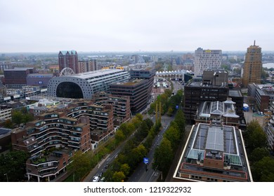 Aerial view of Markthal, a modern dutch marketplace Rotterdam, Netherland on Oct.  29, 2018