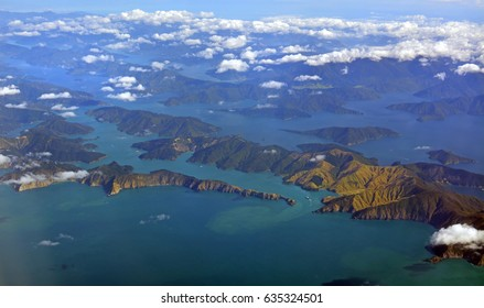 Aerial view of the Marlborough Sounds on an Autumn morning. Includes Queen Charlotte Sound, Tory Channel, Keneperu Sound, Port Underwood.