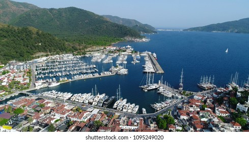 Aerial view. Marmaris harbor - resort town in Turkey.