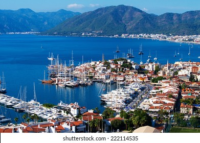 Aerial view of Marmaris on Turkish Riviera.