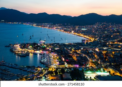 Aerial view of Marmaris on Turkish Riviera by night