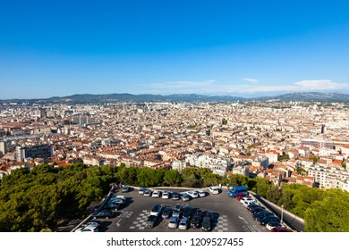 Aerial view of Marseille city from Notre dame de la garde cathedral viewpoint in south of France