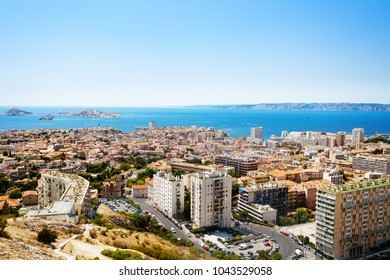 Aerial view of Marseille and its harbor, France