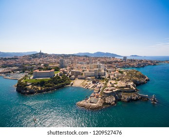Aerial view of Marseille pier - Vieux Port, Saint Jean castle, and mucem in south of France
