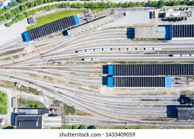 aerial view of marshalling yard