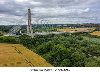 Aerial view, The Mary McAleese Boyne Valley Bridge is a cable-stayed bridge in County Meath, and County Louth, Ireland.
