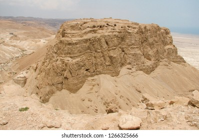 Aerial view of Masada in the Judean Desert of Israel (from the South). UNESCO World Heritage Site - full view of the site (Masada National Park)