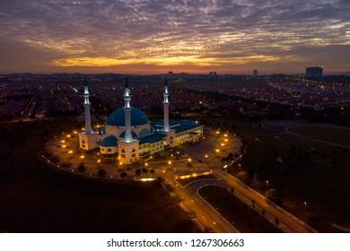 Aerial view of Masjid Sultan Iskandar, Bandar Baru Dato' Onn Johor Bahru, Malaysia