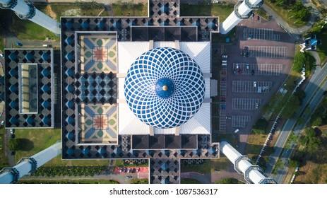 Aerial View Masjid Sultan Salahuddin Abdul Aziz Shah or Blue Mosque in Shah alam ,Selangor, Kuala lumpur, Malaysia. Sultan Salahuddin Abdul Aziz Mosque is biggest mosque in Malaysia.