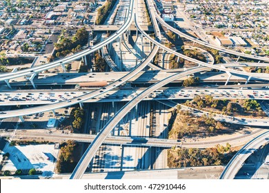 Aerial view of a massive highway intersection in Los Angeles