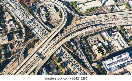 Aerial view of a massive highway intersection in Los AngelesAerial view of a massive highway intersection in Los Angeles