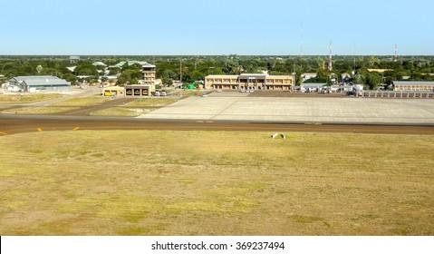 aerial view of Maun Airport in Botswana, Africa