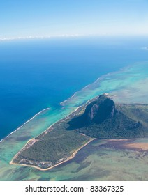 Aerial view of Mauritius with Le Morne Brabant mountain