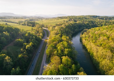 Aerial view of the Maury River and Blue Ridge Mountains, in Buena Vista, Virginia.