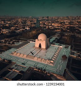 Aerial view of mausoleum - Muhammad Ali Jinnah, also known as Mizar-e-quaid.