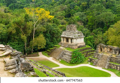 Aerial view of the Mayan temple ruins of Palenque, with a jungle setting during daytime near the city of Palenque, Mexico.