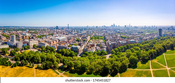 Aerial of view of Mayfair in London, UK
