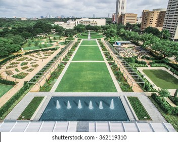 Aerial view of McGovern Centennial Gardens at Hermann Park, Houston, Texas