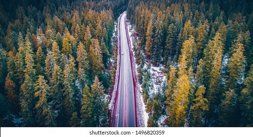 An aerial view of the Mckenzie Highway and Oregon Forest during the Winter in Sisters, Oregon.