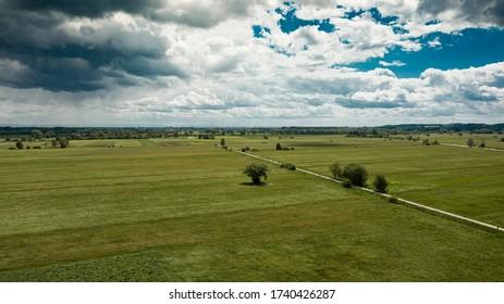 aerial view of meadows in Freising, Bavaria, Germany