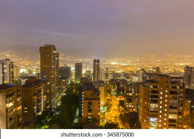 Aerial view of Medellin at night with residential buildings. Colombia 2015
