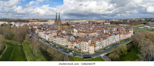 Aerial view of medieval Bayonne in France with cathedral