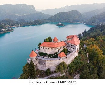 Aerial view of medieval castle by the lake Bled in Slovenia. Beautiful nature of Slovenia.