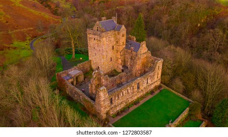 Aerial view of Medieval Castle Campbell ruin at Glen Dollar, Clackmannanshire, Scotland.