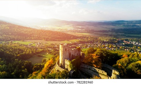 Aerial view of Medieval Castle Chojnik, Lower Silesia. Castle raised in XIII th century on the top of the hill with beautiful panorama