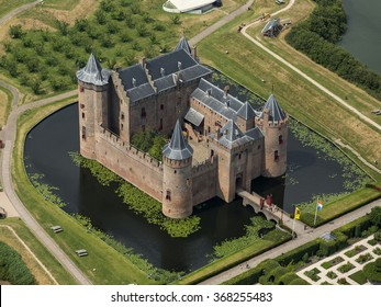 Aerial view of the medieval castle Muiderslot in Muiden, Holland