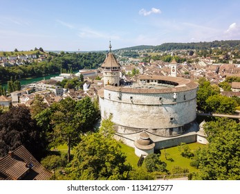 Aerial view of the medieval castle Munot in Swiss old town Schaffhausen, Switzerland